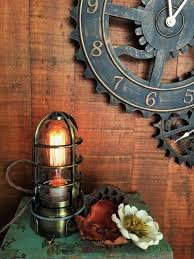 rustic industrial lighting. antique brass industrial table lamp with touch dimmer steampunk edison cage modern decor nautical lantern rustic lighting