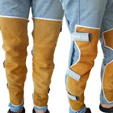 details about cowhide leather leg welding warmers heat insulation safety leg gaiter protection