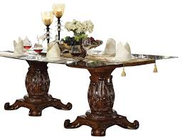 perfect traditional glass dining tables with acme vendome double pedestal dining table with glass table top