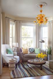 bay window curtain ideas family room contemporary with accent tables bay window curtain panels floor