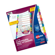 Avery Customizable Table Of Contents Dividers 12 Tab Set 11843 Ebay