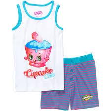 Shopkins Girls Cupcake Chic Tank Sleepwear Set Walmartcom
