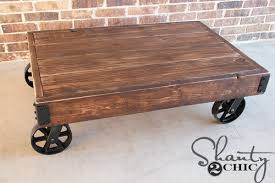 Nice Coffee Tables With Wheels with Diy Factory Cart Coffee Table Shanty 2  Chic
