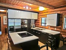 tremendous oak ceiling designs over black and white ikea modern kitchen cabinets and log wood wall panels in midcentury kitchen designs