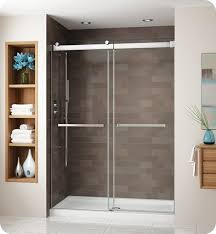 fleurco ng160 25 40 gemini frameless bypass 60 sliding shower doors with hardware finish brushed nickel and glass type clear glasicrotek glass