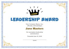 Award Certificate Template Free Leadership Award Certificate Template Free Lissette