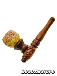wooden pipe with soapstone bowl 10 cm 0