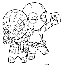 Deadpool coloring page from deadpool category. Selfie With Spidey And Deadpool Coloring Page Free Printable Coloring Pages For Kids