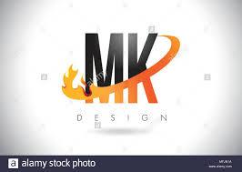 Mk Logo Design Vector Mk M K Letter Logo Design With Fire Flames And Orange Swoosh