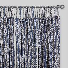 Navy Blue Crinkle Voile Trailing Leaves Curtains Set of 2