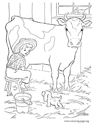 Small Picture Cows And Calves A Farm Boy Milking A Cow Coloring Page Farm