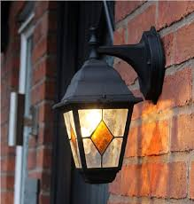 victorian style outdoor wall lantern with stained glass 1