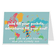 funny gap year traveling card we will miss you good luck on your travels