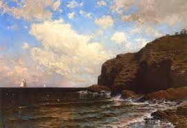 rocky coast with breaking waves alfred thompson bricher oil painting