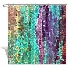 colorful fabric shower curtains. Beautiful Shower Curtain -Morning Has Broken Mosaic , Unique Fabric Teal, Purple, Colorful, Bathroom Decor, Art For The Colorful Curtains I