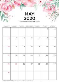 Calendar May 2020 Free Printable May 2020 Floral Calendar Calendar