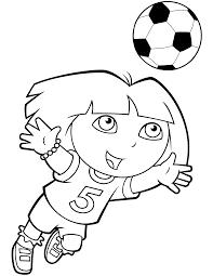 Kleurplaten Paradijs Kleurplaat Dora Speelt Voetbal