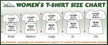 The Mountain Shirt Size Chart Size Information For The Mountain T Shirts Tank Tops