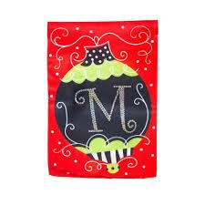 christmas garden flag. Perfect Christmas Amazoncom  Evergreen Silk Monogram Christmas Ornament  M Garden Flag  125 X 18 Inches Outdoor Flags U0026 Throughout Flag A