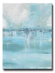 GICLEE PRINT Art Abstract Painting Blue Sea Foam Green Grey White Canvas  Coastal Wall Art Decor