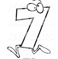 Small Picture Vector of a Cartoon Number Seven 7 Character Outlined Coloring