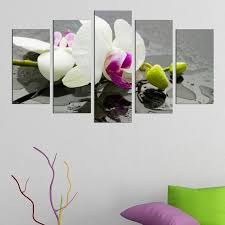 wall art canvas decoration set with white orchid spa zen feng sui