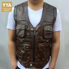 2019 cowhide genuine leather vest men brown waistcoat male sleeveless jacket thick high quality motorcycle vest multi pocket zipper from instachic