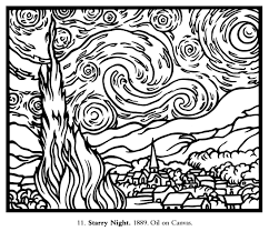 Free Coloring Page Coloring Adult Van Gogh Starry Night Large