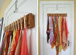 Hang a handmade organizer on your door - clothes pins to hold scarves,  ties, or other small items. Use for dress up clothes?