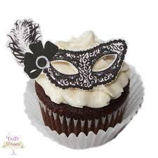 Masquerade Mask Cake Decorations 60 Edible Decorations Masquerade Food Decorations Black White 2