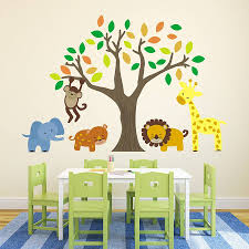 jungle animals and tree wall stickers by mirrorin notonthehighstreet