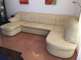 Echtleder Wohnlandschaft Couch Beige