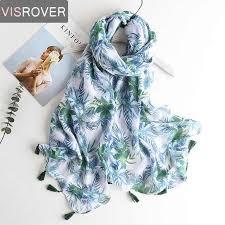 <b>VISROVER summer</b> beach muffler green leaves plant <b>scarf</b> wowan ...