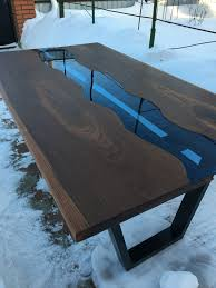 Slab <b>table</b> with blue glass <b>river</b> #woodworking ...