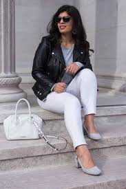 black leather jacket white
