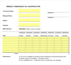 17 Contractor Timesheet Templates Docs Word Pages Free