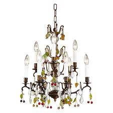7738 wildwood lamps bronze with gs chandelier colored crystal gs nine lights finish
