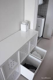 ランドリー洗濯スペースの収納イケアのkallaxカラックスを洗濯カゴ
