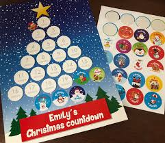Christmas Chart Images Personalised Countdown To Christmas Chart With Stickers Christmas Tree Design