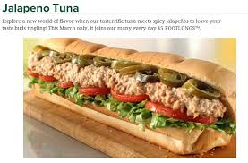 subway s march lineup 5 jalapeno tuna and the italian collection report
