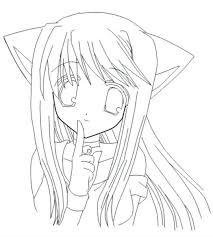 Anime Cat Girls Coloring Pages