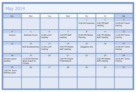 Business Schedule Template Business Calendar Business Calendar Example Calendars