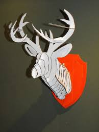 picture of 3d cardboard duct tape deer head trophy with template
