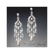 bracelet pearl and crystal bridal chandelier earrings
