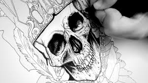 Drawing A Skull Tattoo Design With Ink Time Lapse Tys Gothic Tattoo