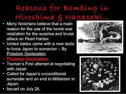 atomic bombing of hiroshima nagasaki 3 reasons for bombing in hiroshima nagasaki