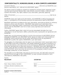 Non Disclosure Compete Agreement Template Business Templates ...