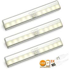 cylapex 3 pcs rechargeable motion sensor closet light battery operated stick on anywhere wireless