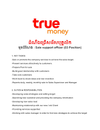 Sales Support Job Description Sale Support Officer 03 Positions From True Money
