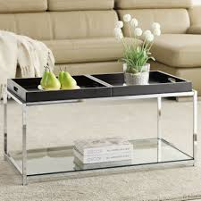 Metal Living Room Furniture Square Glass Top Cofee Table Metro Modern Design Tempered Beveled